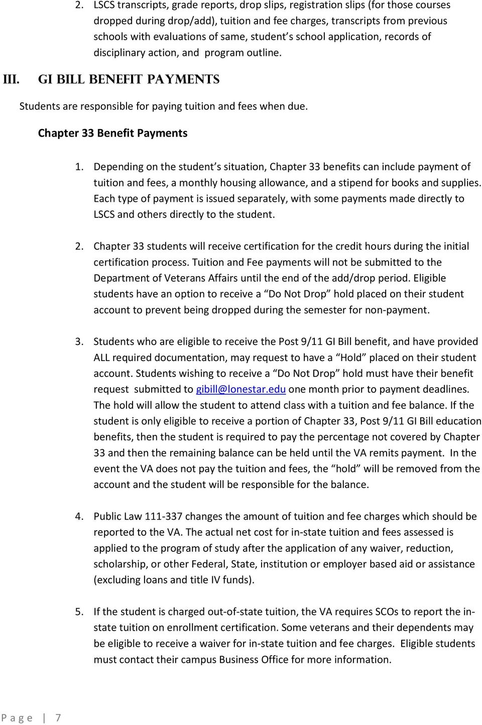 Gi Bill Policies And Procedures For Requesting And Processing Gi