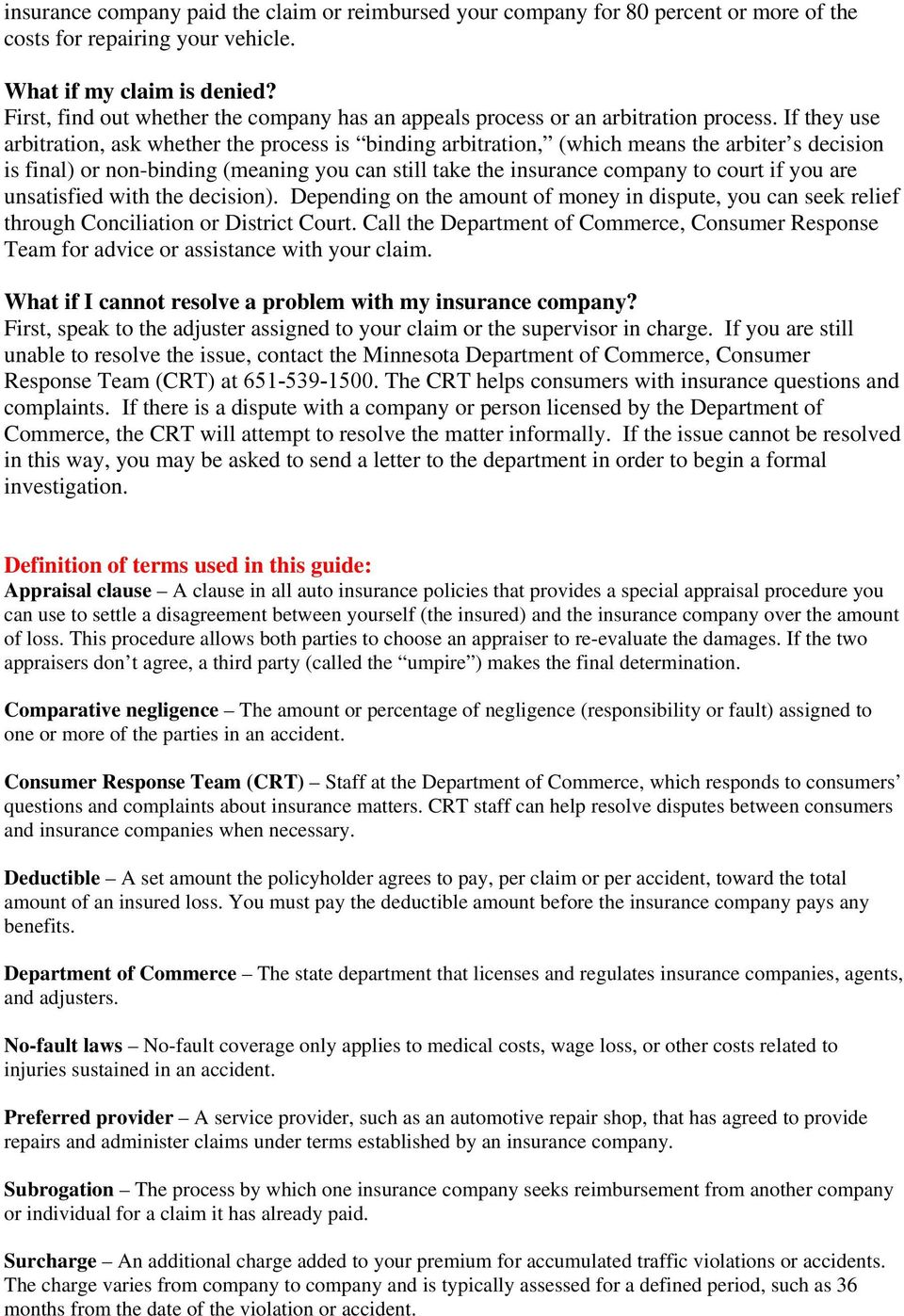 auto insurance claims & claimants rights - pdf