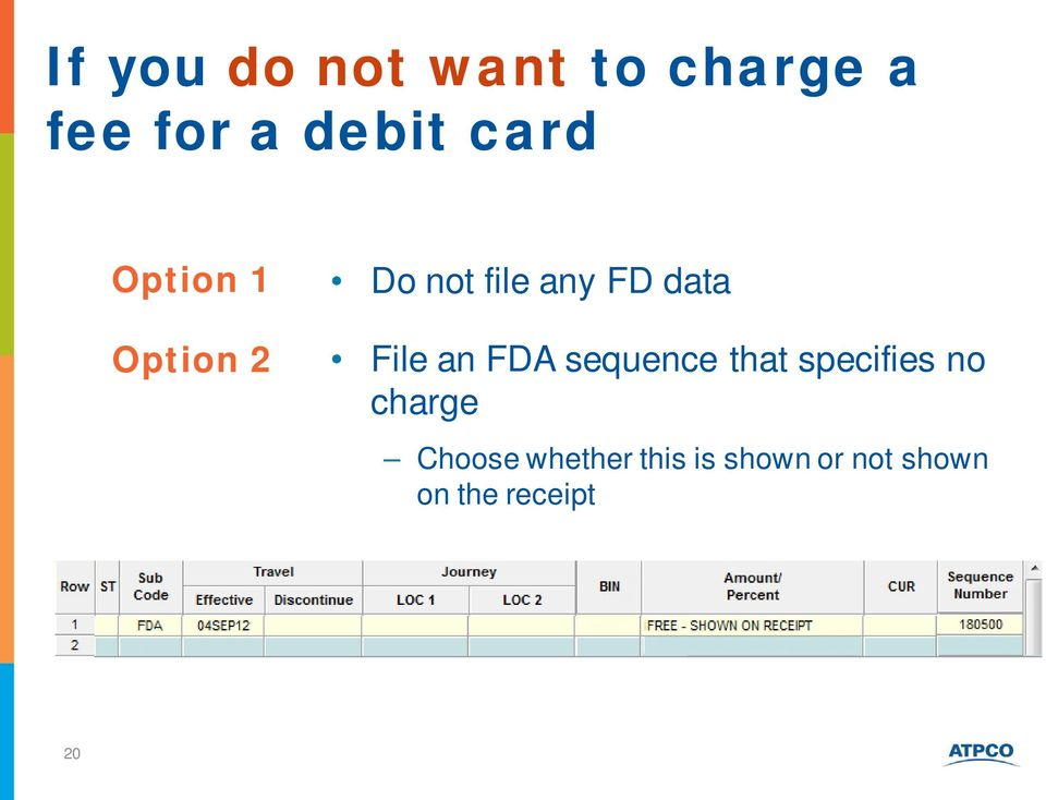 File an FDA sequence that specifies no charge
