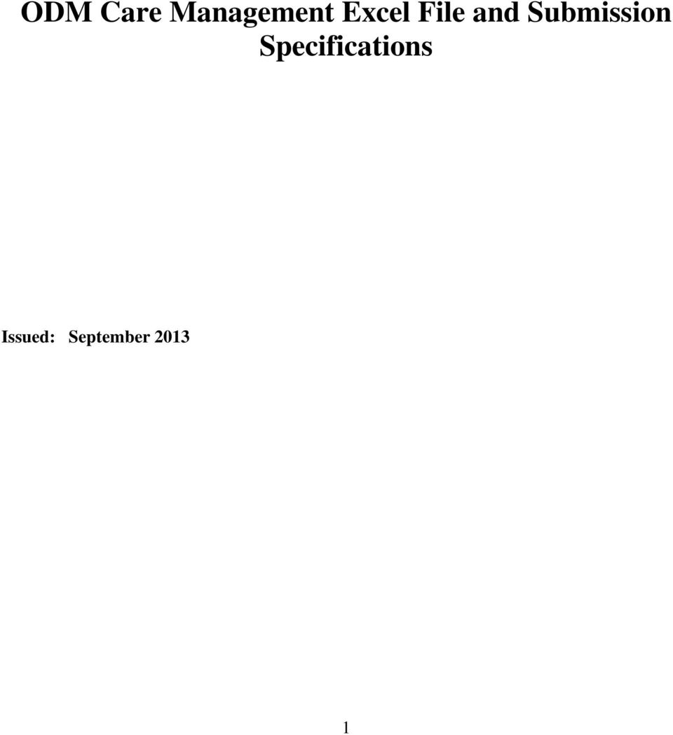 Odm Care Management Excel File And Submission Specifications Pdf