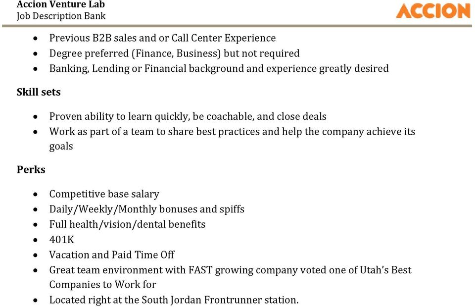 Accion Venture Lab  Job Description Bank INSERT REPORT TITLE