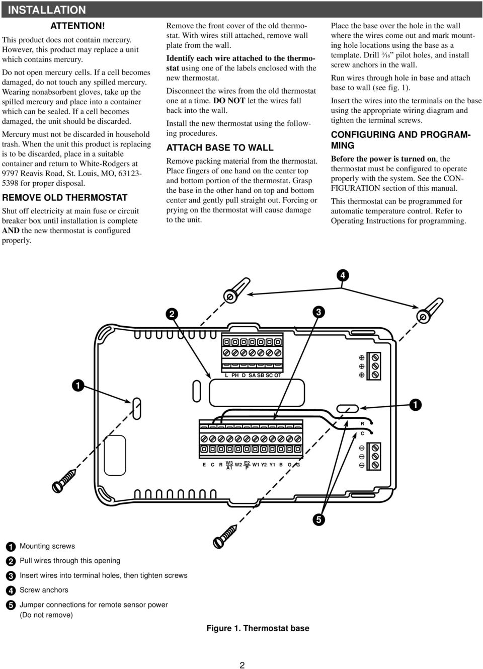 White Rodgers Comfort Set 90 Series Pdf Thermostat Wiring Diagram 1f80 261 If A Cell Becomes Damaged The Unit Should Be Discarded Mercury Must Not