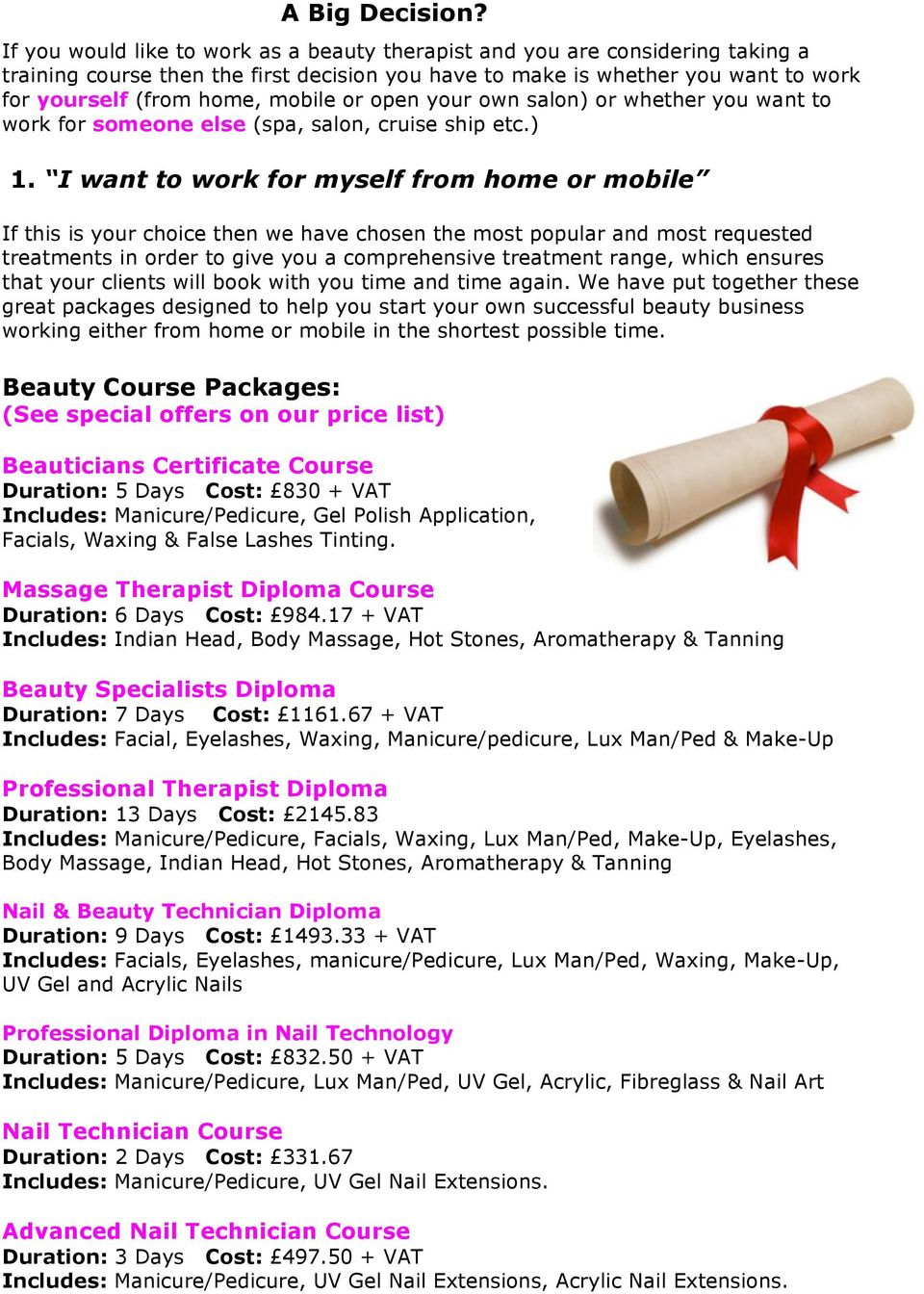 Accredited diploma training courses available in Beauty, Make-Up ...