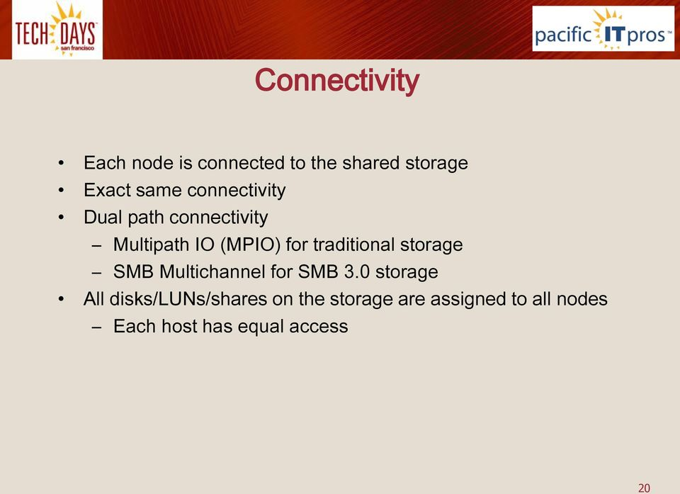 traditional storage SMB Multichannel for SMB 3.