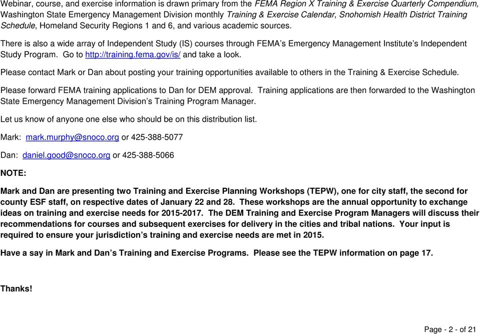 Snohomish County Department Of Emergency Management Training