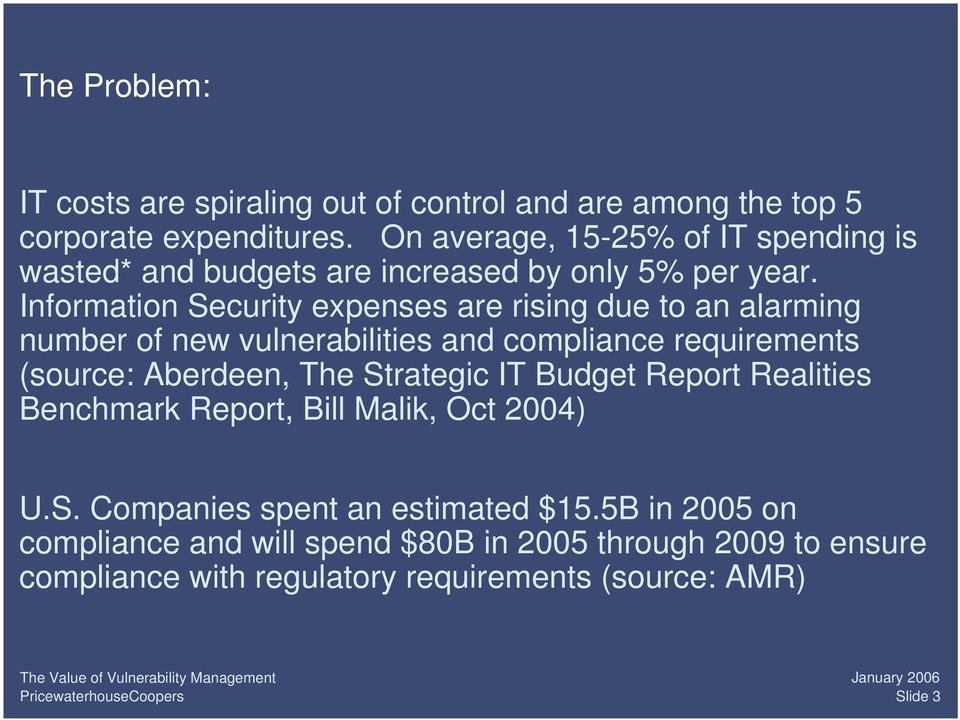 Information Security expenses are rising due to an alarming number of new vulnerabilities and compliance requirements (source: Aberdeen, The