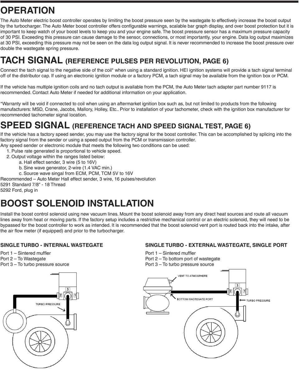 Installation Instructions Boost Controller Pro Control Input Negative Pulse Will Provide A On Off Output Safe The Pressure Sensor Has Maximum Capacity Of 30 Psi Exceeding