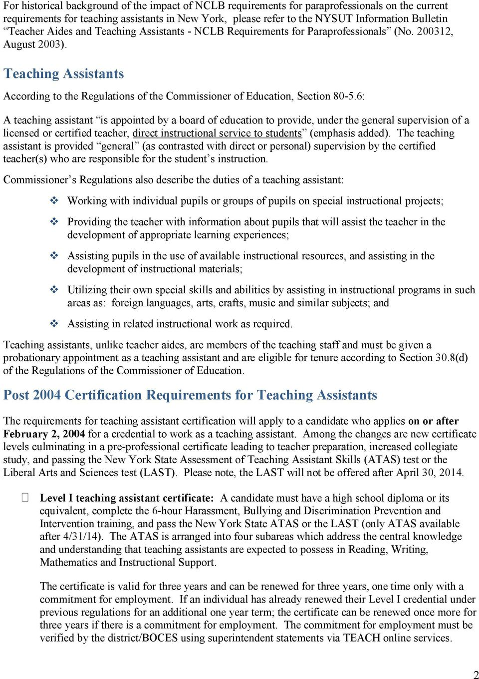 Certification Requirements For Teaching Assistants Pdf