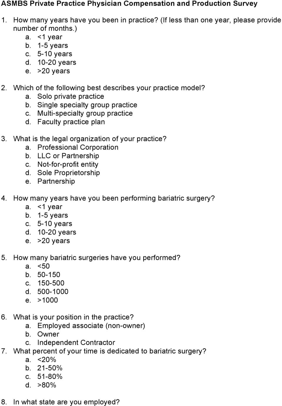 ASMBS Compensation and Practice Style Survey - PDF