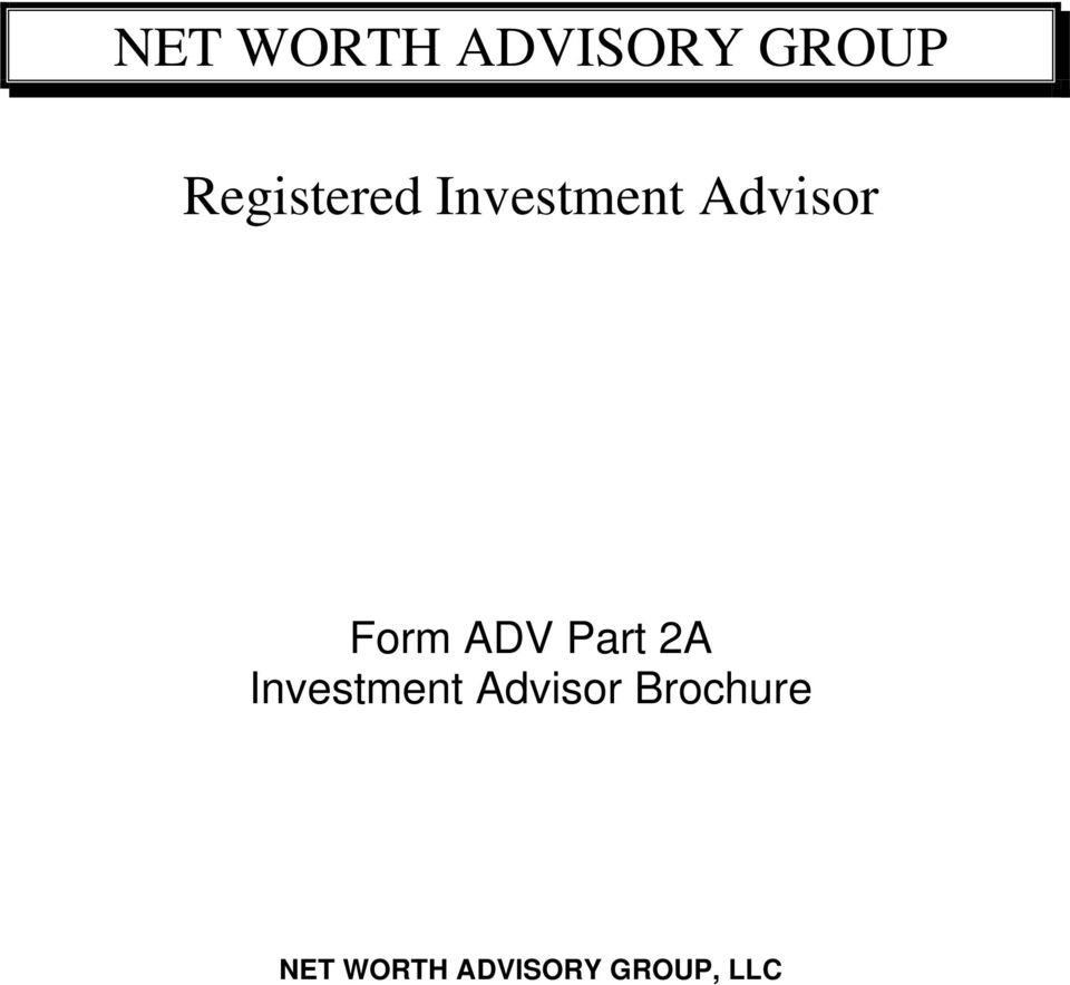 Form ADV Part 2A Investment