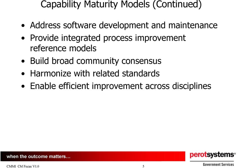 improvement reference models Build broad community consensus
