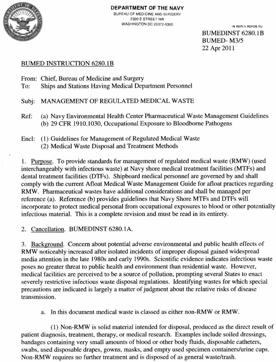 Pharmaceutical Waste Management Guidelines (b) 29 CFR 1910.