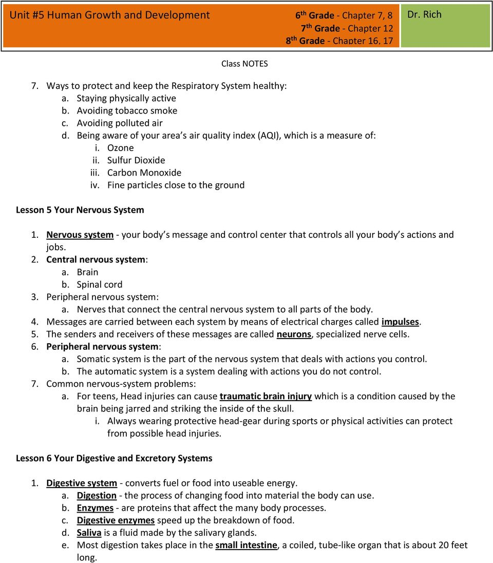 Unit #5 Human Growth and Development 6 th Grade - Chapter 7