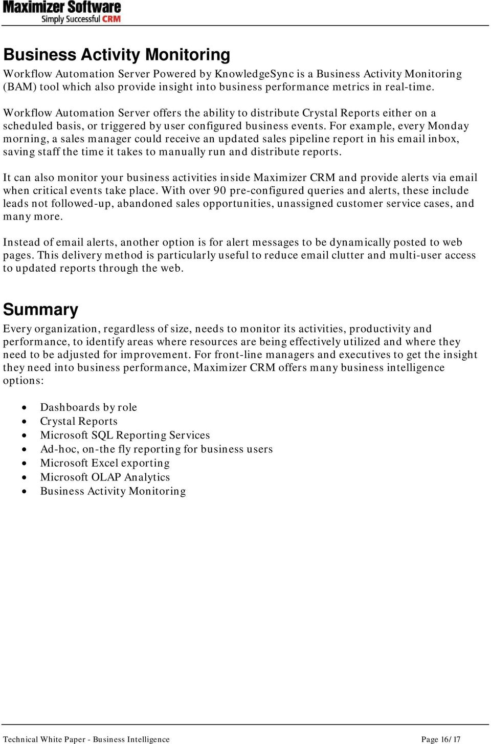 Business Intelligence with Maximizer CRM 10: - PDF