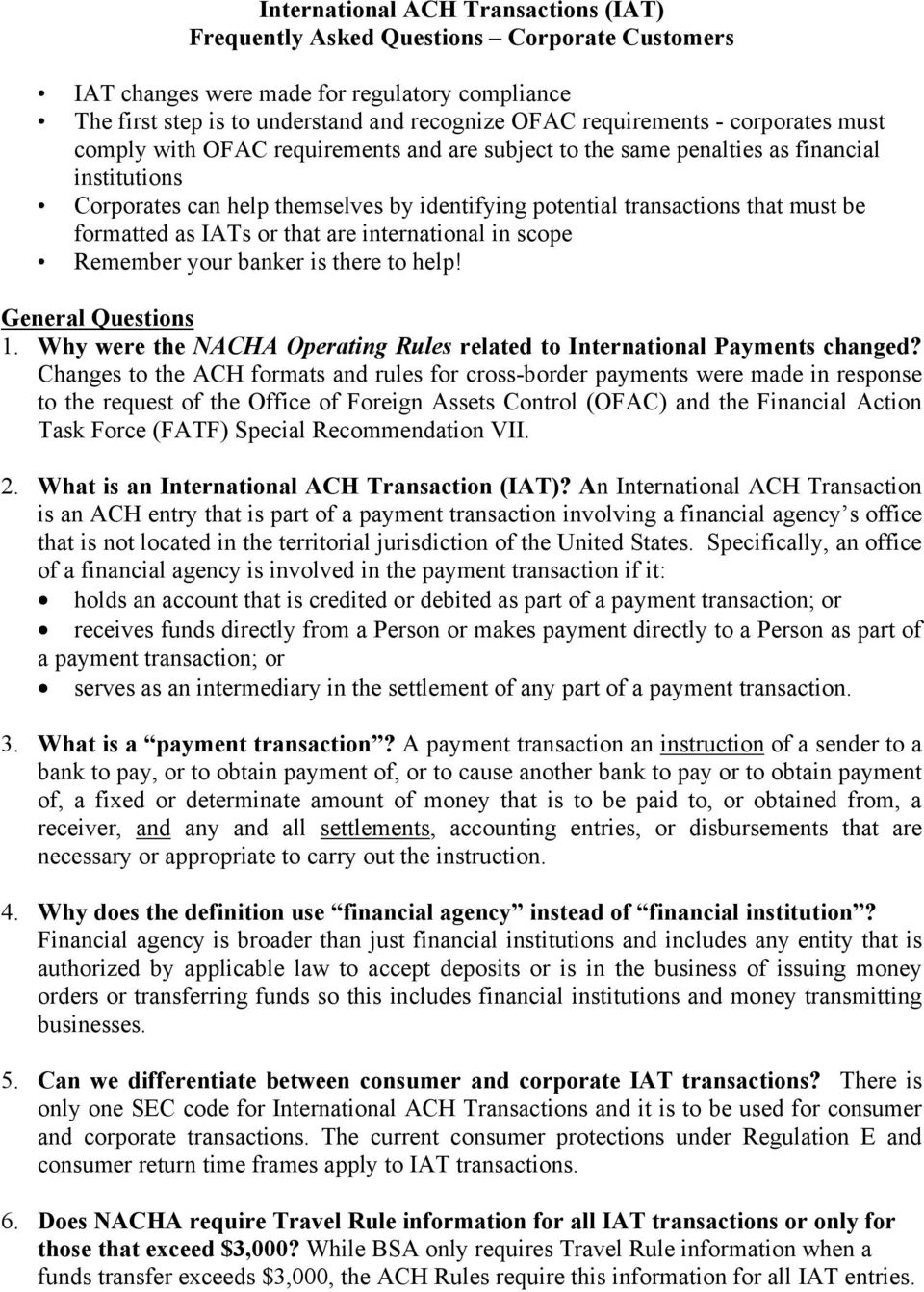 International ACH Transactions (IAT) Frequently Asked
