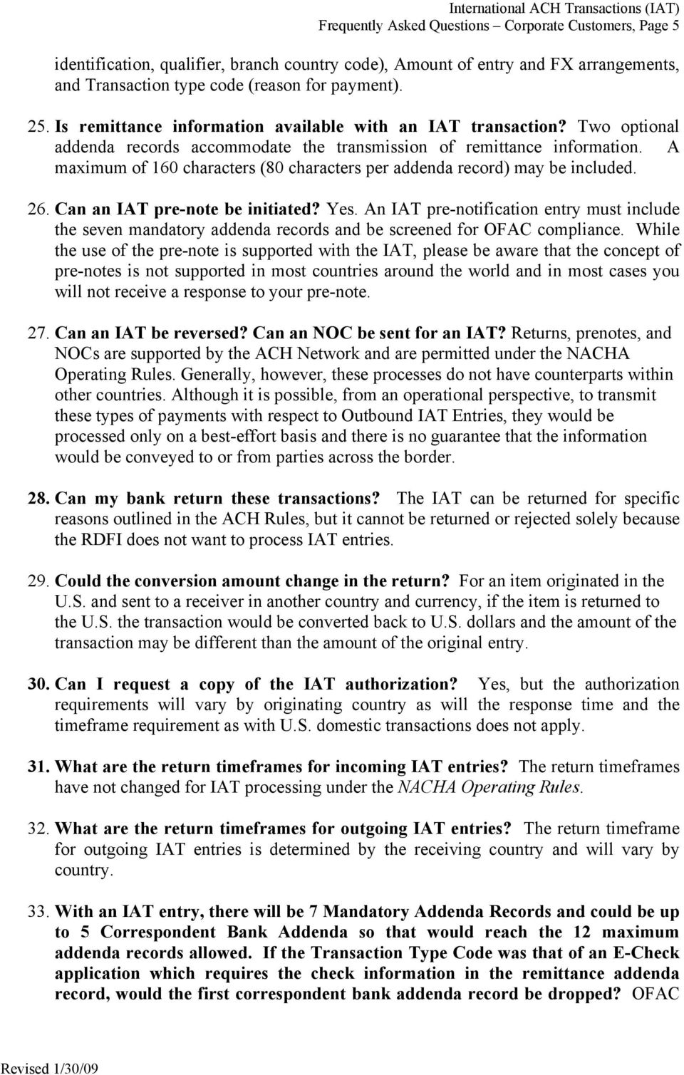 International ACH Transactions (IAT) Frequently Asked Questions ...
