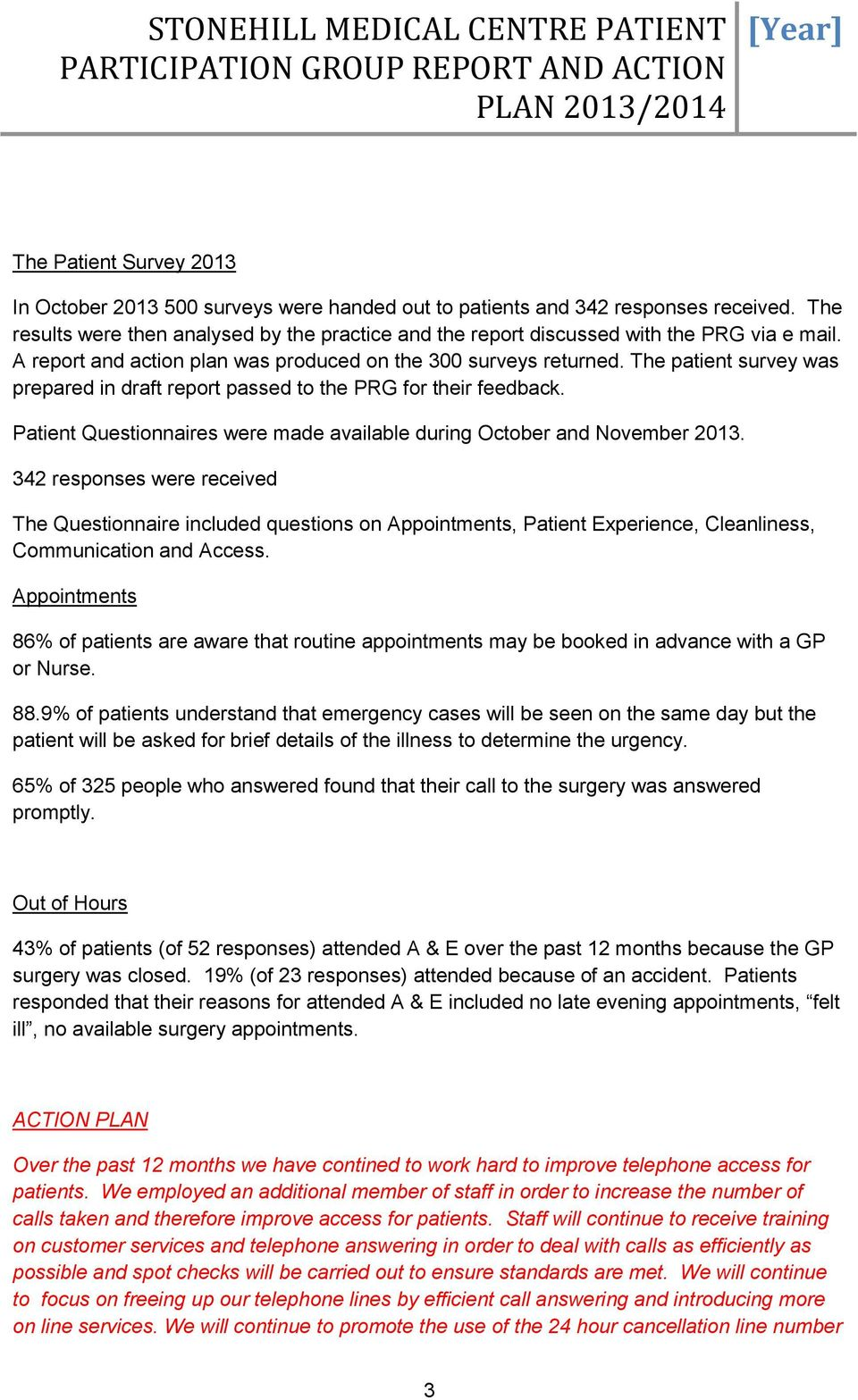 The patient survey was prepared in draft report passed to the PRG for their feedback. Patient Questionnaires were made available during October and November 2013.