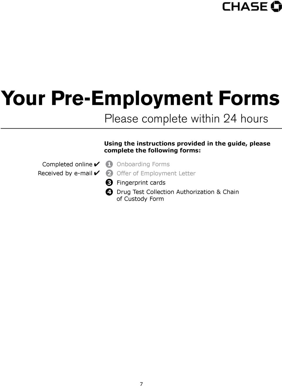 Welcome to Chase! Your Guide to the Pre-Employment Process - PDF