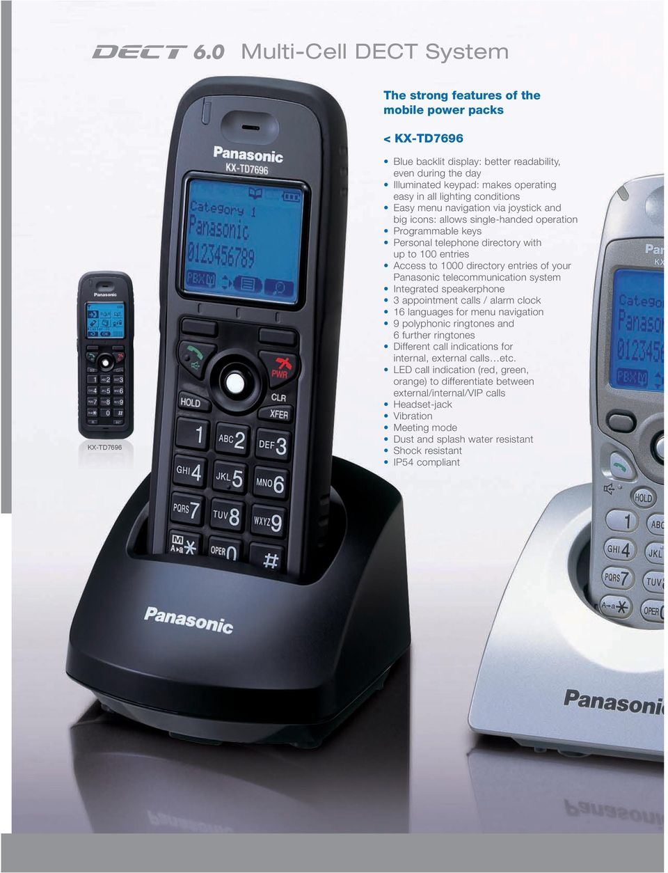 of your Panasonic telecommunication system Integrated speakerphone appointment calls / alarm clock 16 languages for menu navigation 9 polyphonic ringtones and 6 further ringtones Different call