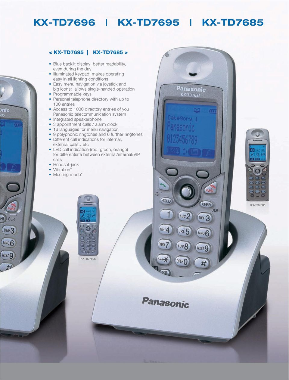 Panasonic telecommunication system Integrated speakerphone appointment calls / alarm clock 16 languages for menu navigation 9 polyphonic ringtones and 6 further ringtones Different call