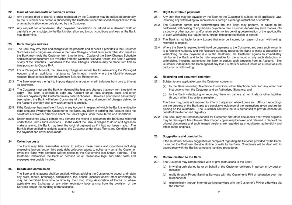 BANK ACCOUNTS AND SERVICES TERMS AND CONDITIONS - PDF
