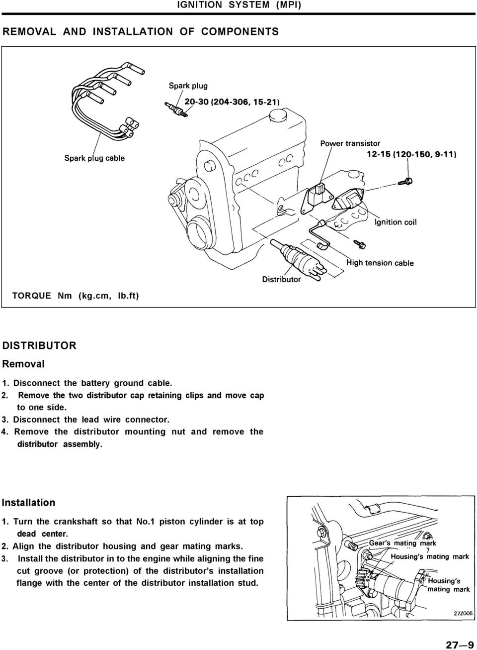 Engine Electrical System Pdf The Negative Battery Cable Disconnect And Cap Power Steering Remove Distributor Mounting Nut Assembly Installation 1 Turn