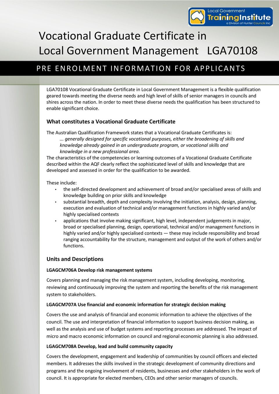 The Vocational Graduate Certificate In Local Government Management Pdf