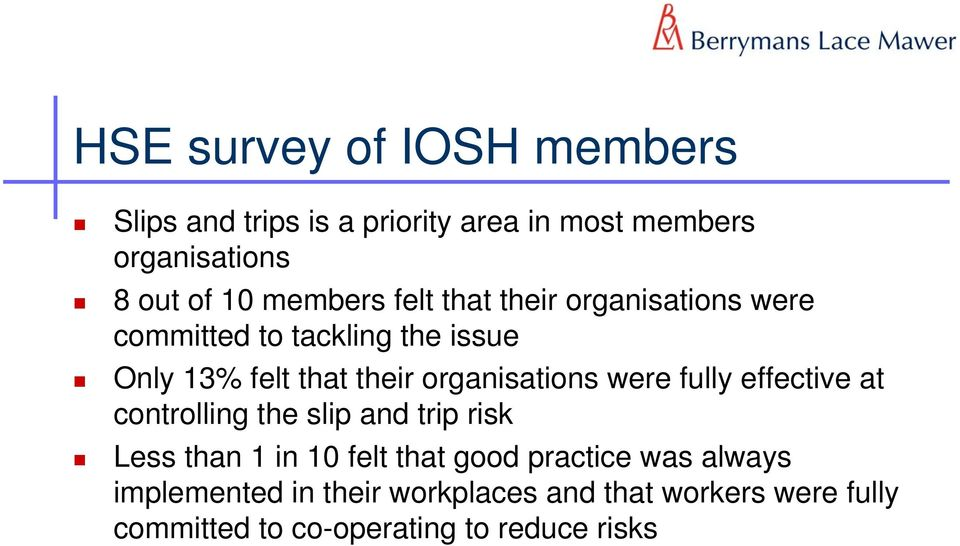organisations were fully effective at controlling the slip and trip risk Less than 1 in 10 felt that good