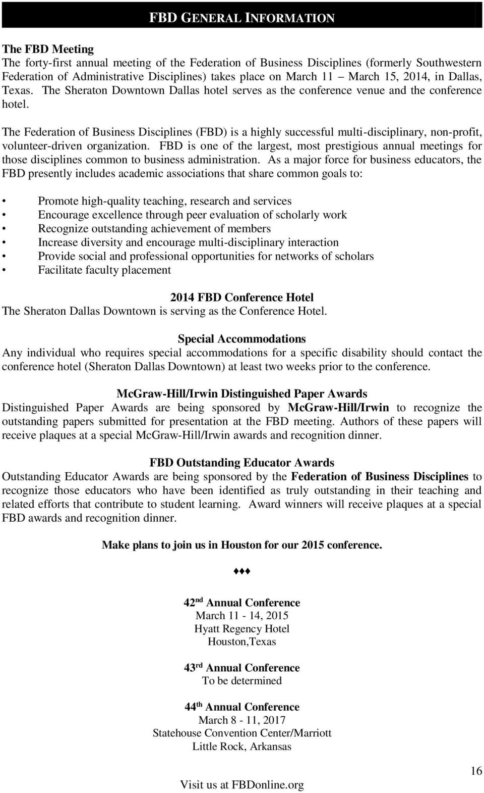 fe6c5805a The Federation of Business Disciplines (FBD) is a highly successful  multi-disciplinary