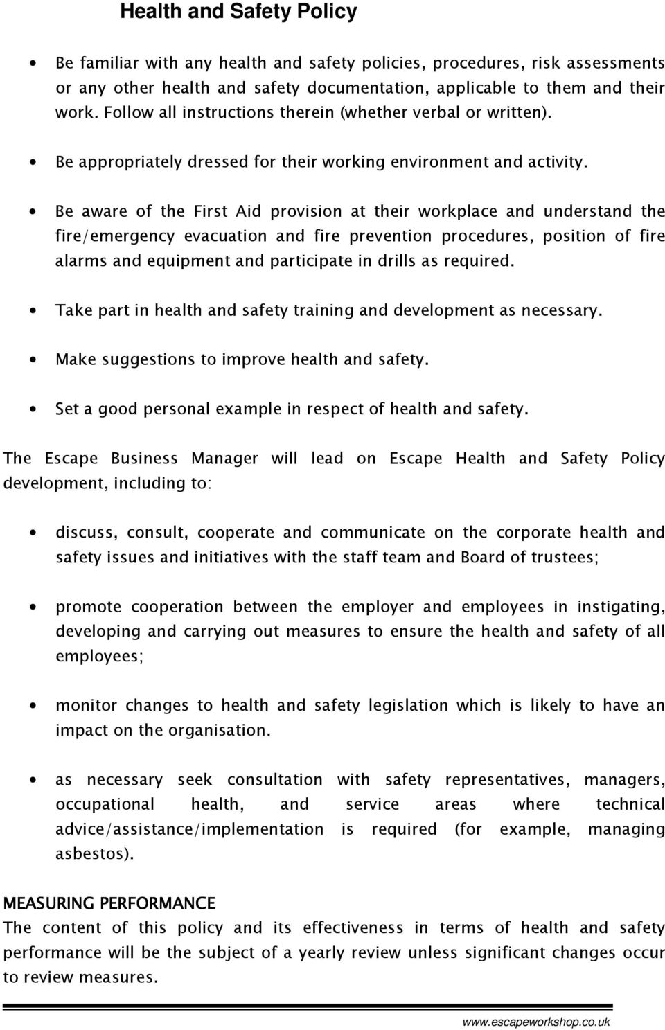 health and safety review checklist