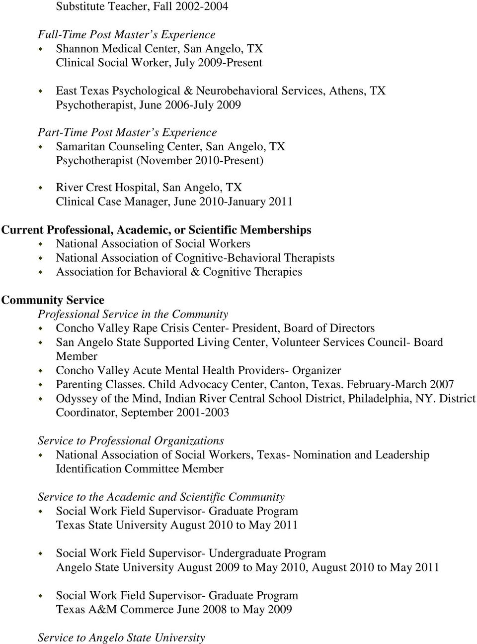 Curriculum Vitae Academic Appointments Adjunct Appointments Howard