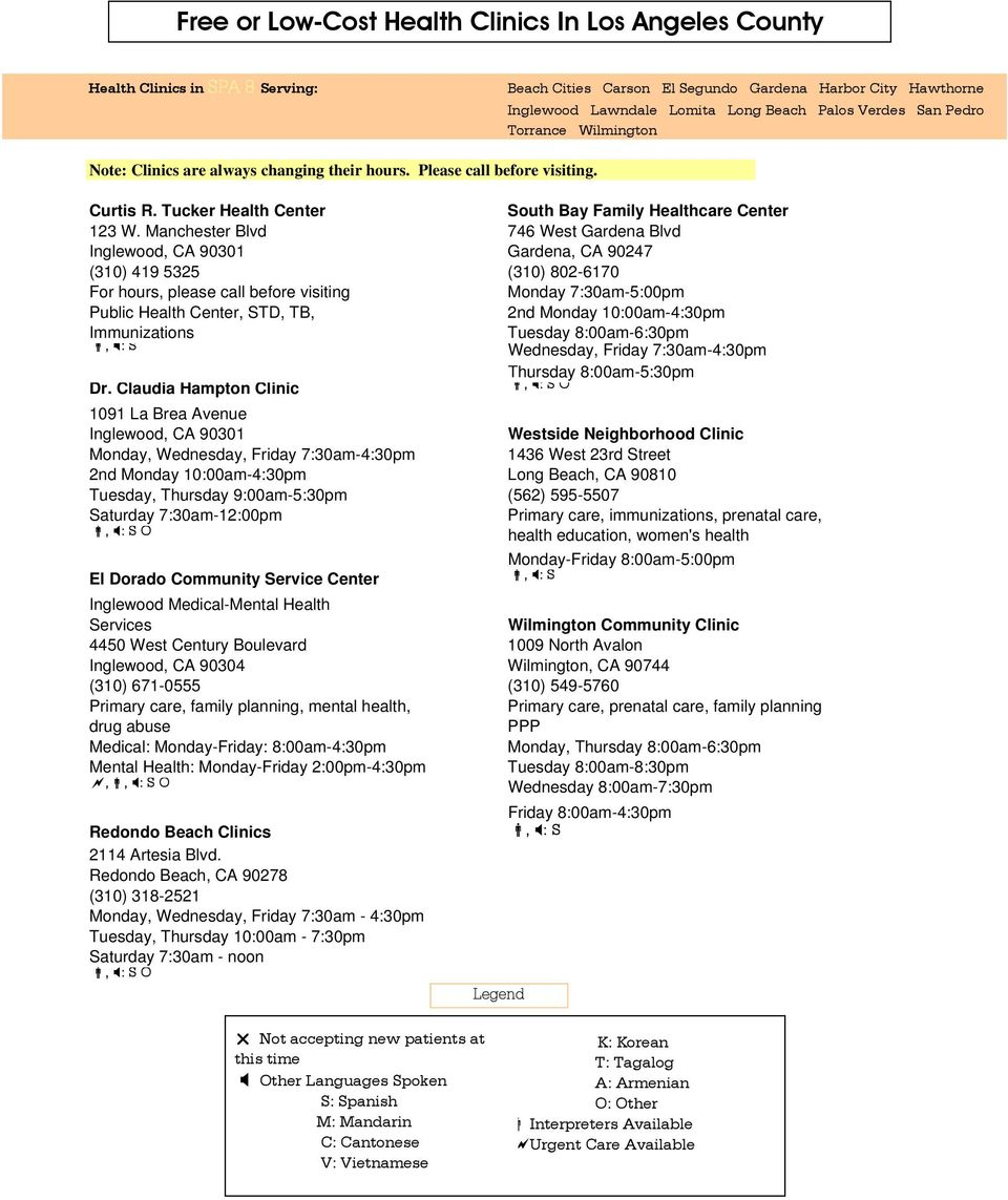 Free Or Low Cost Health Clinics In Los Angeles County Pdf