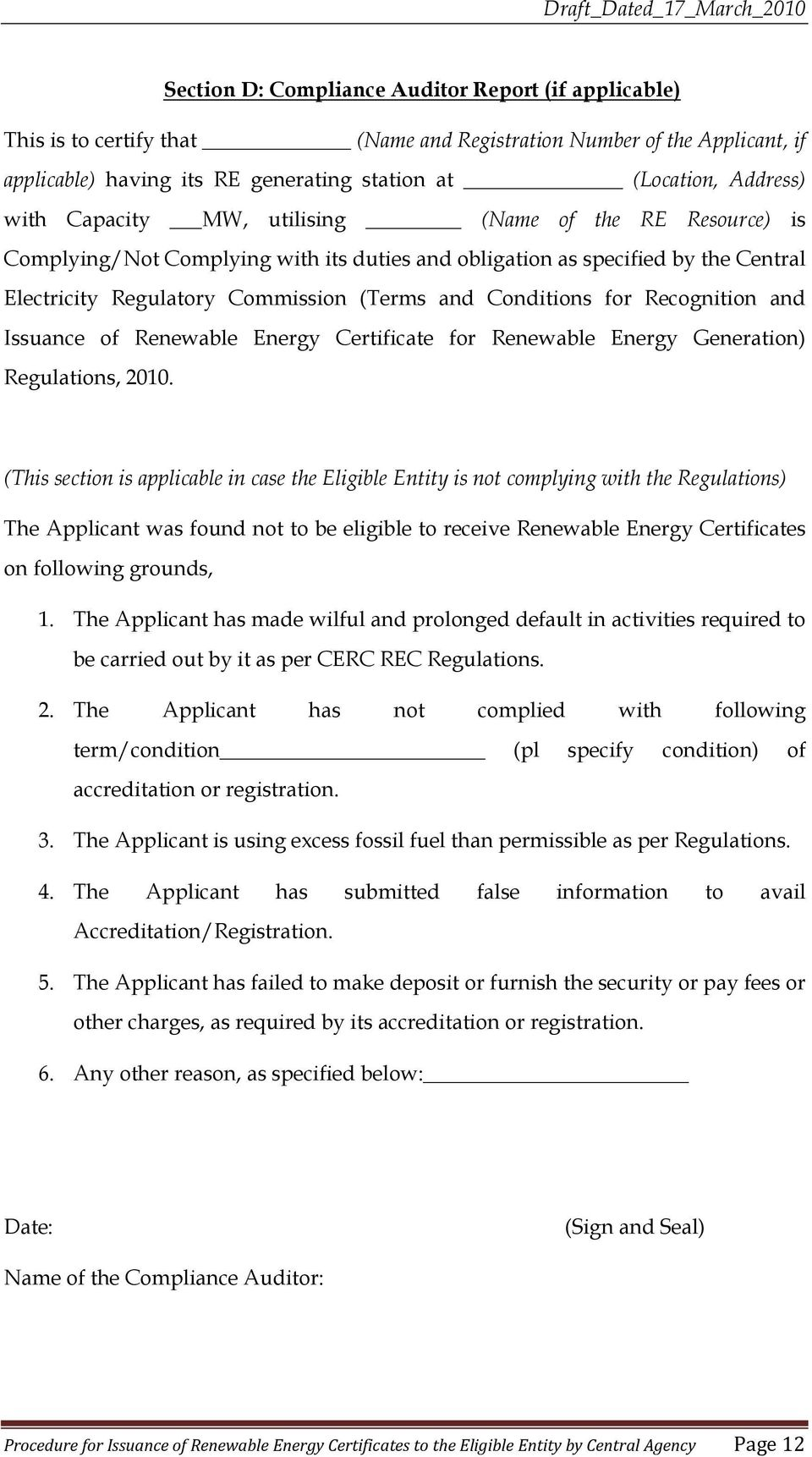 Procedure For Issuance Of Renewable Energy Certificate To The