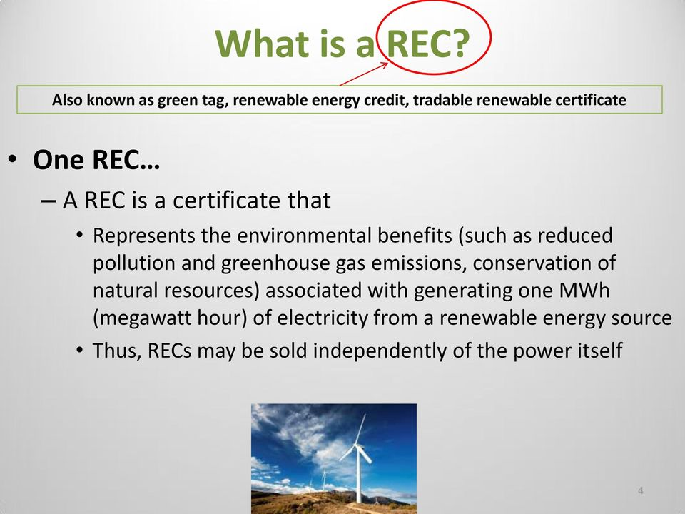certificate that Represents the environmental benefits (such as reduced pollution and greenhouse gas