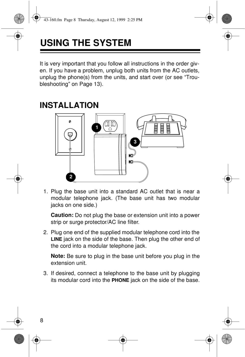 Wireless Phone Jack System Pdf Modular Instruction Sheet On Usoc Rj45 Wiring Plug The Base Unit Into A Standard Ac Outlet That Is Near Telephone