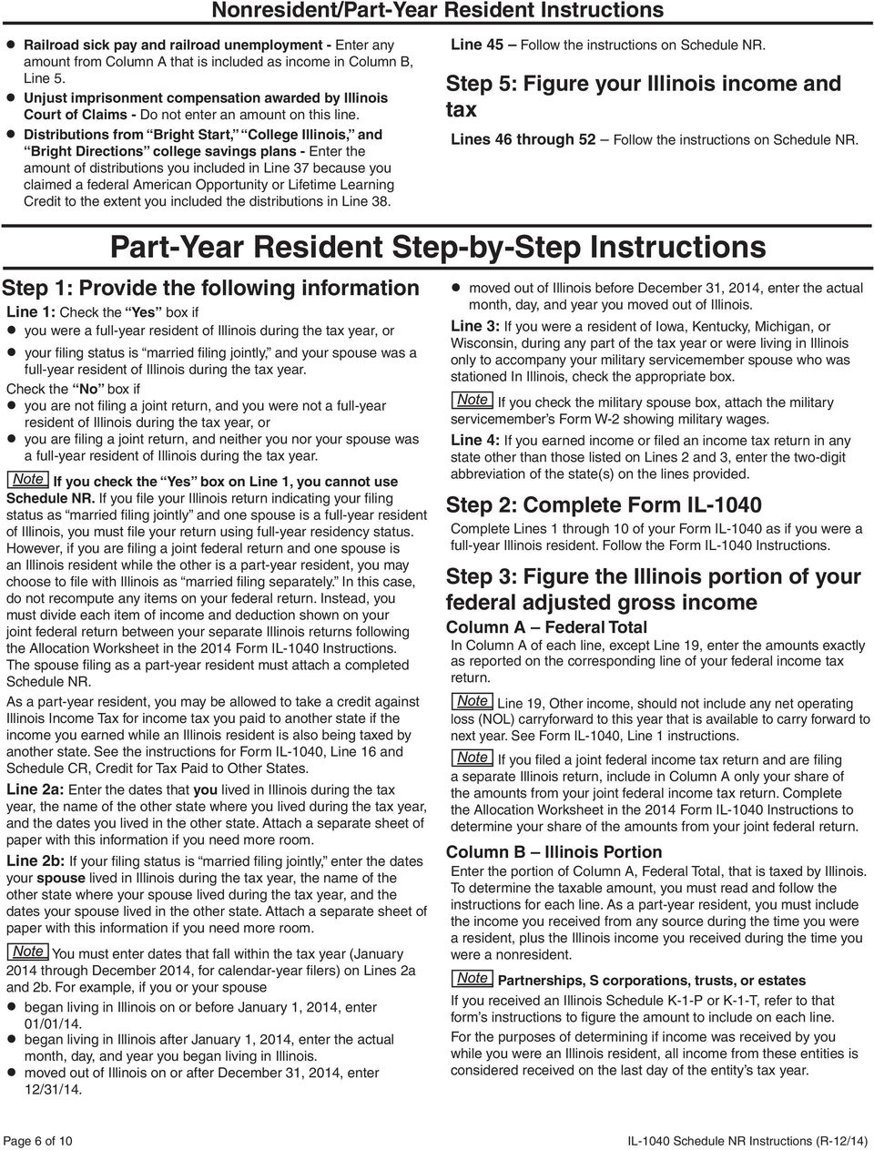 General Information Nonresident Step By Step Instructions Pdf