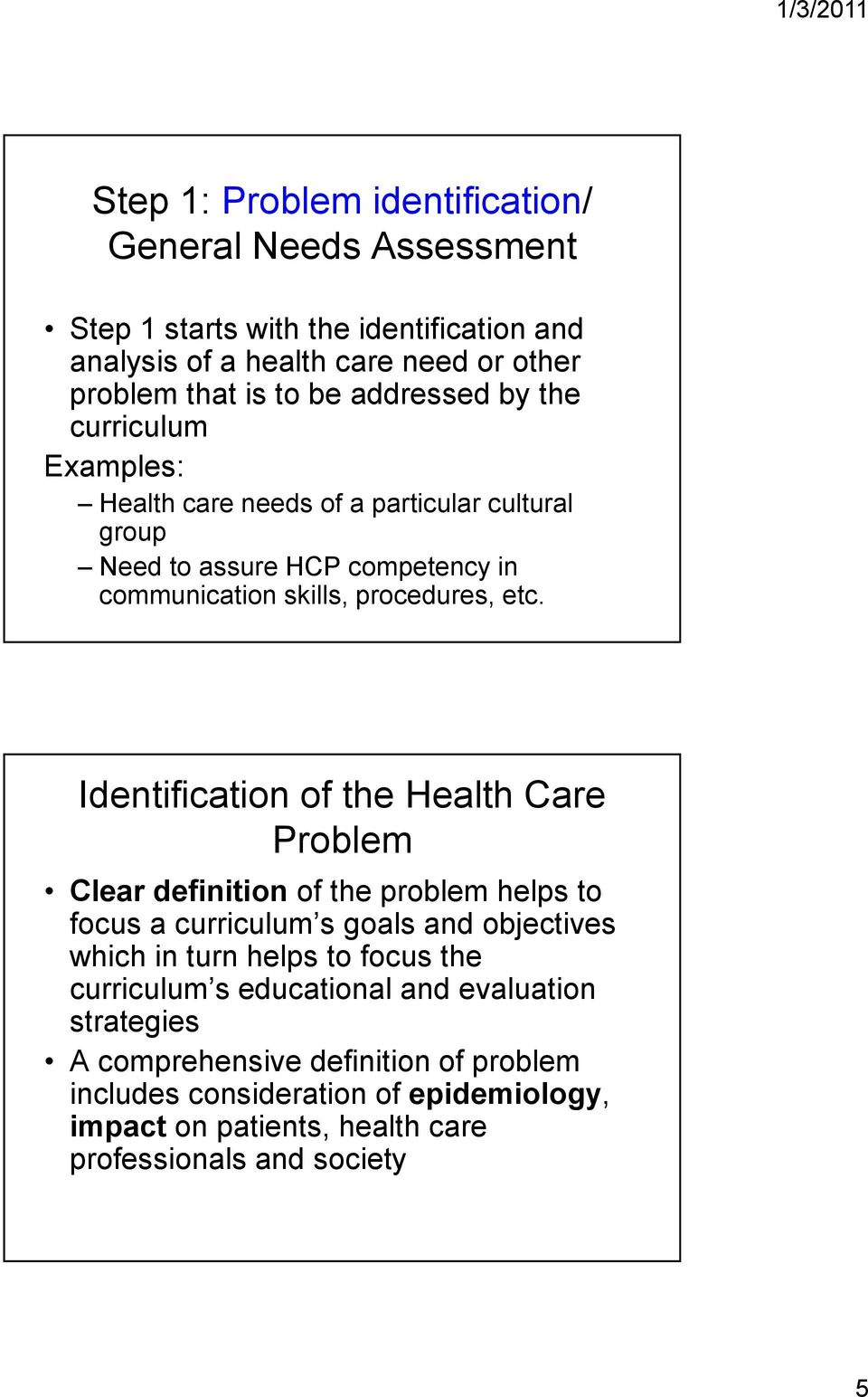 Identification of the Health Care Problem Clear definition of the problem helps to focus a curriculum s goals and objectives which in turn helps to focus the