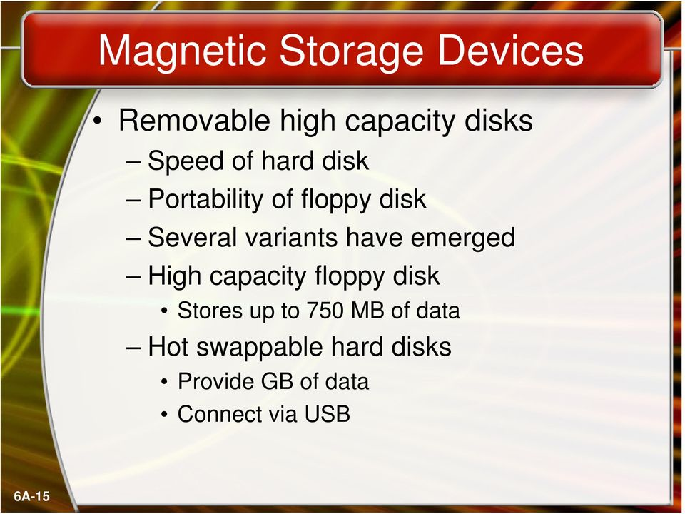 emerged High capacity floppy disk Stores up to 750 MB of data