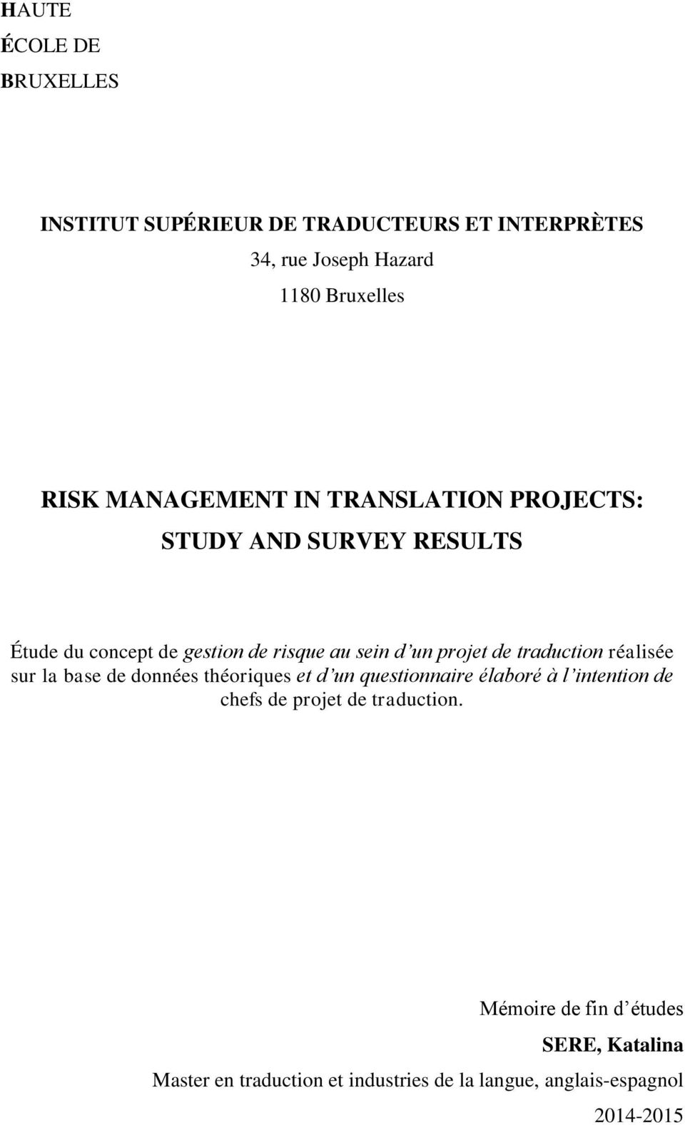 Risk Management In Translation Projects Study And Survey