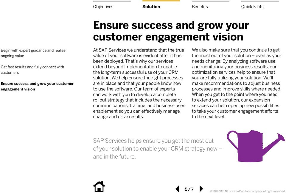 That s why our services extend beyond implementation to enable the long-term successful use of your CRM solution.