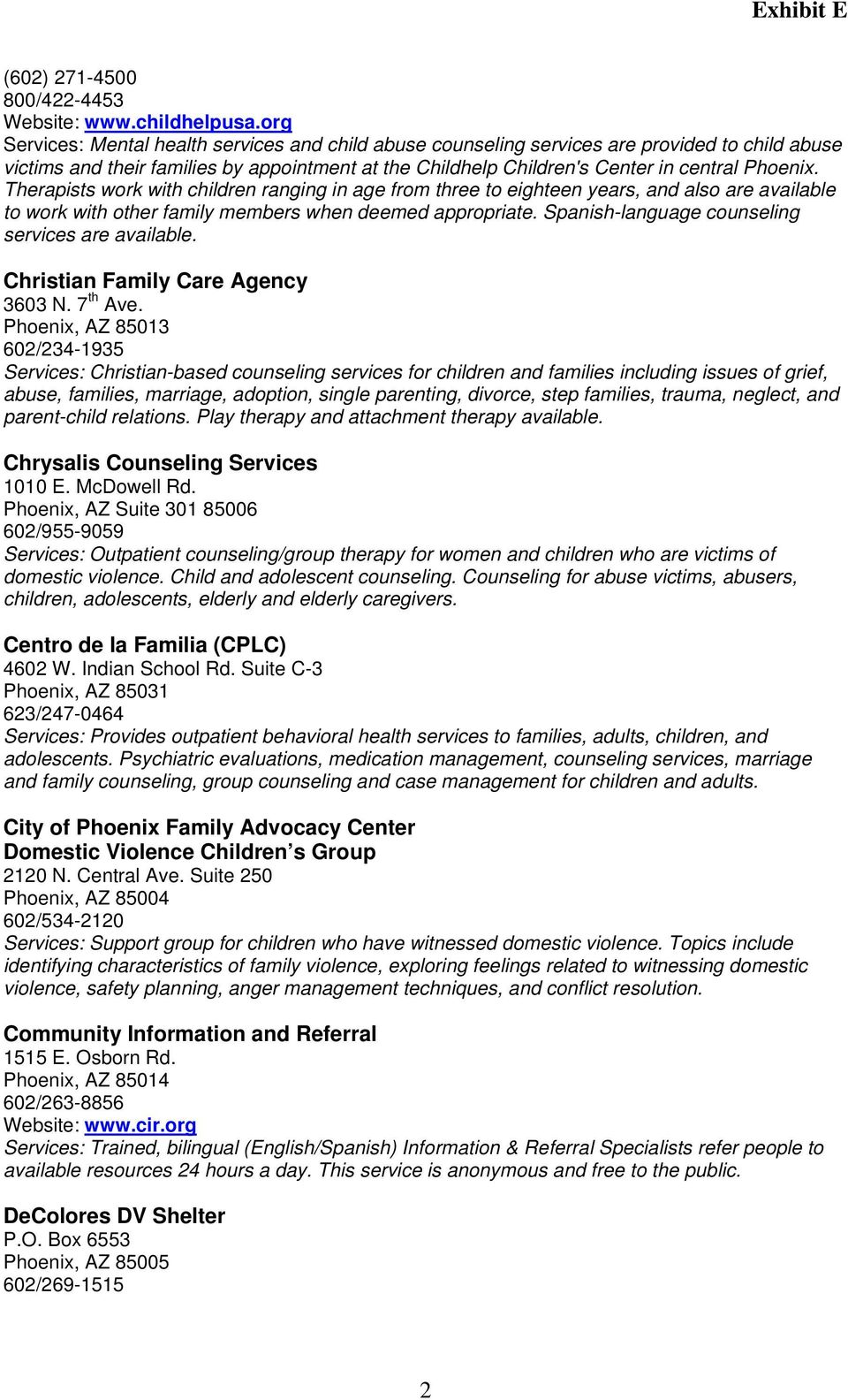 West Valley Children and Domestic Violence Resource List - PDF
