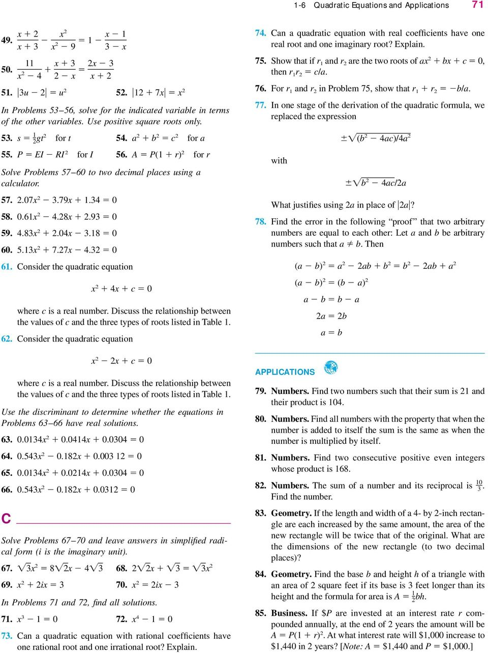 SECTION 1-6 Quadratic Equations and Applications - PDF Free ...