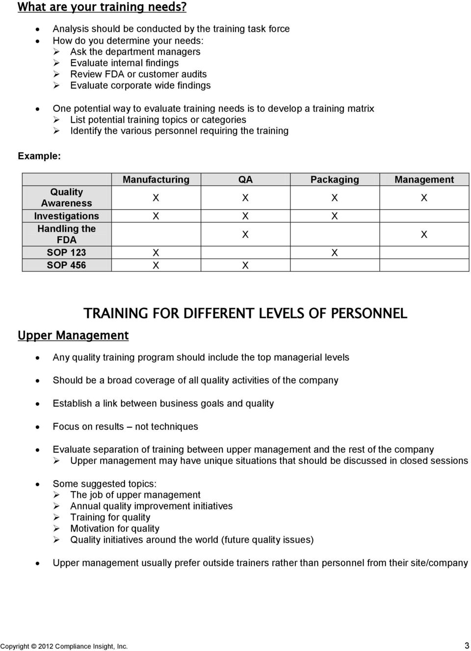 findings One potential way to evaluate training needs is to develop a training matrix List potential training topics or categories Identify the various personnel requiring the training Example: