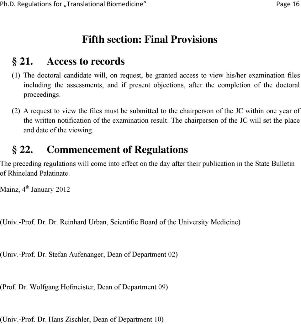 objections, after the completion of the doctoral proceedings.