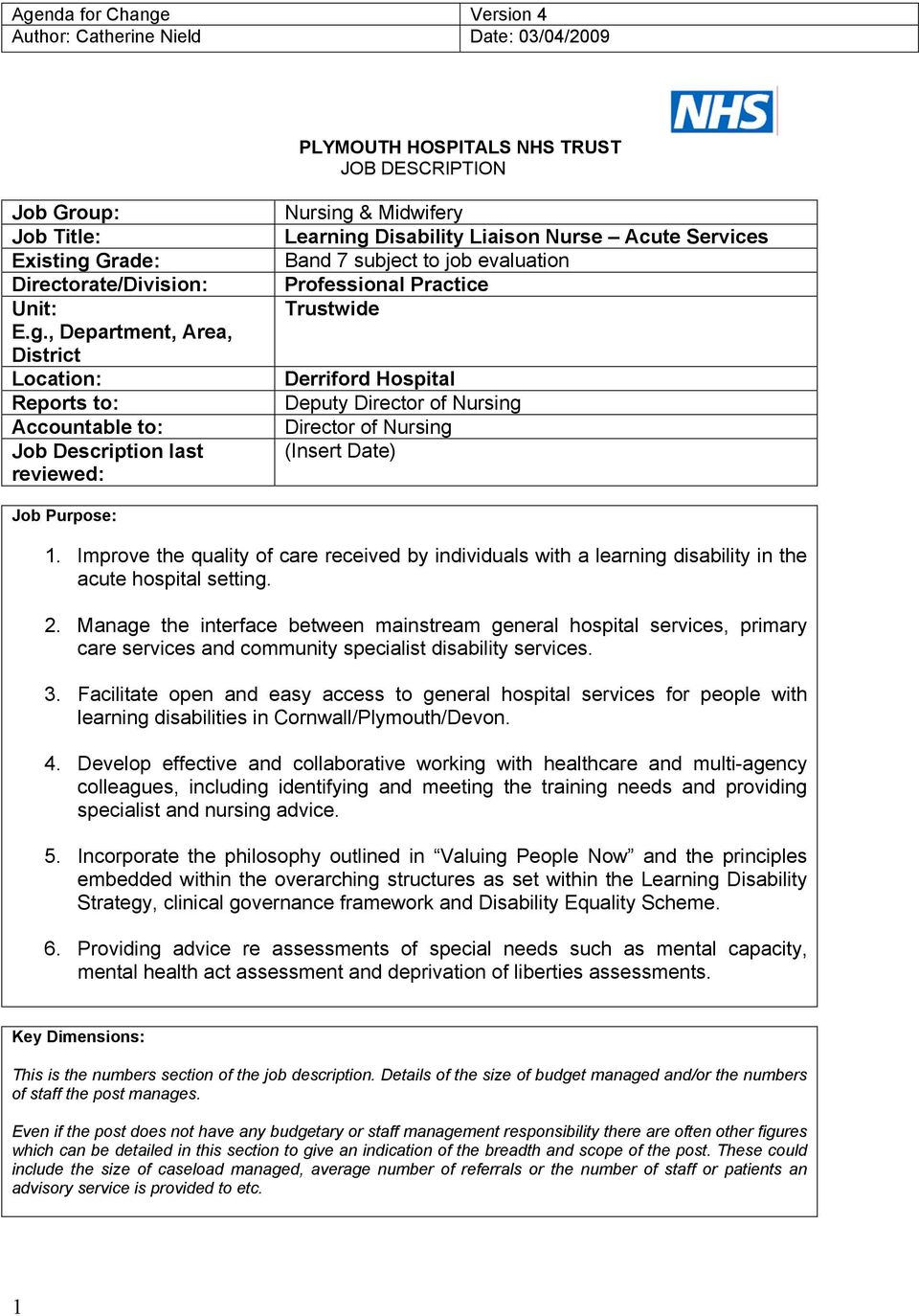 , Department, Area, District Location: Reports to: Accountable to: Job Description last reviewed: Nursing & Midwifery Learning Disability Liaison Nurse Acute Services Band 7 subject to job evaluation