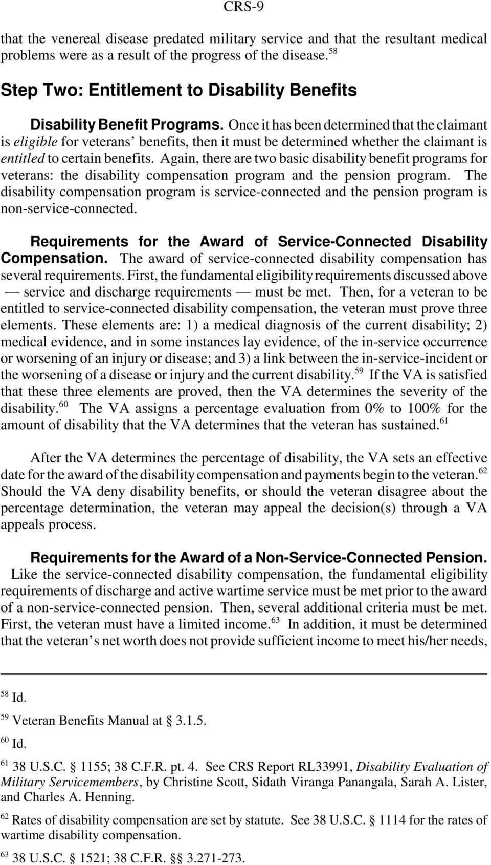 Veterans Affairs: Basic Eligibility for Disability Benefit Programs
