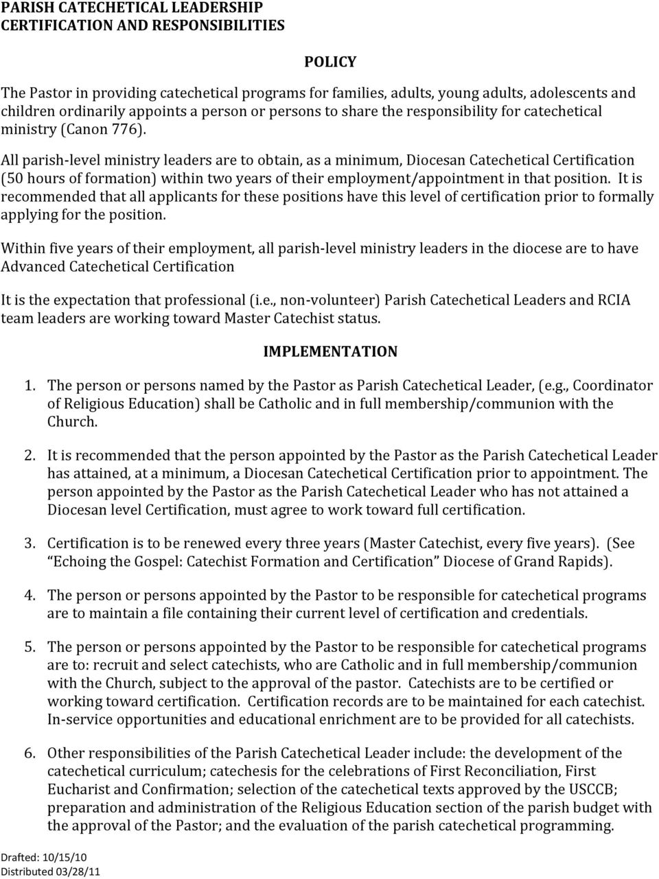 Policy Implementation Pdf
