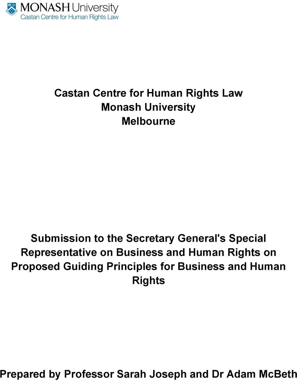 Business and Human Rights on Proposed Guiding Principles for