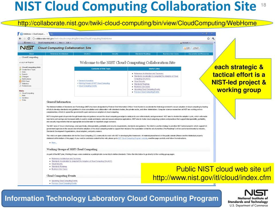 tactical effort is a NIST-led project & working group Public NIST cloud web site