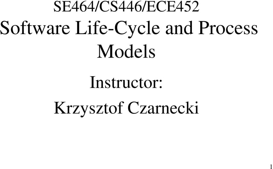 and Process Models